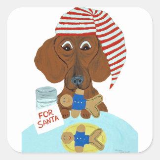 サンタのクッキーを守っているダックスフント スクエアシール