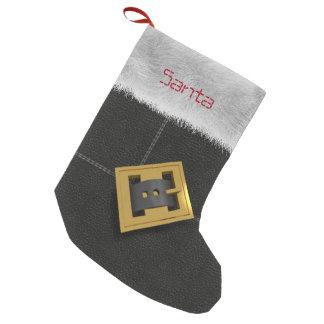 サンタのクラシックで黒いブーツのカスタムなクリスマスのストッキング スモールクリスマスストッキング