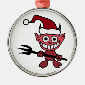 サンタのクリスマスの帽子を身に着けているかわいい悪魔 メタルオーナメント