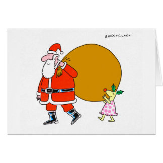 サンタのクリスマスカードを持つヒイラギのシカ カード