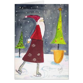 サンタのスケートで滑るの休日カード カード