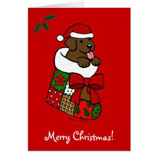 サンタのストッキングチョコレート実験室の子犬の漫画 カード