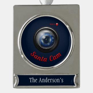 サンタのスパイのカメラ シルバープレートバナーオーナメント