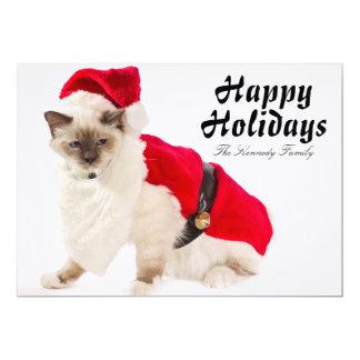 サンタのスーツのBirman猫 カード