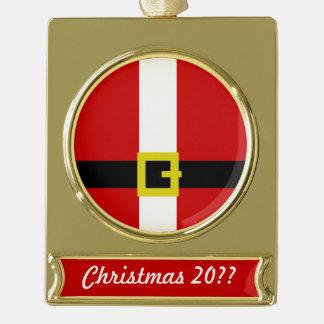サンタのスーツ のクリスマス ゴールドプレートバナーオーナメント