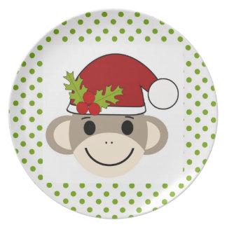 サンタのソックス猿のプレート プレート