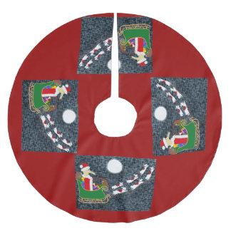 サンタのダックスフント ブラッシュドポリエステルツリースカート
