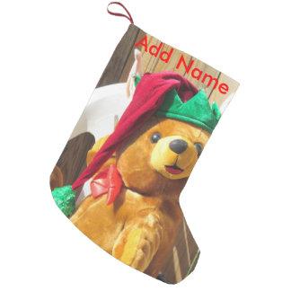 サンタのテディのクリスマスのストッキング スモールクリスマスストッキング