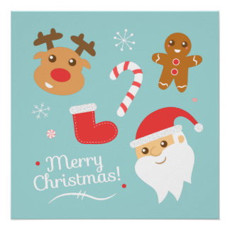 サンタのトナカイ、ジンジャーブレッドマンとのクリスマス ポスター