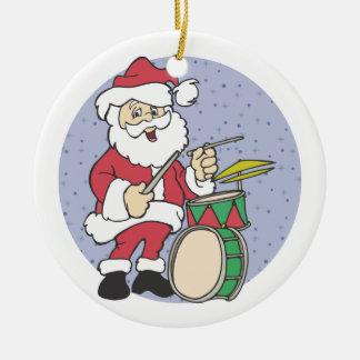 サンタのドラマーのクリスマスのオーナメント セラミックオーナメント