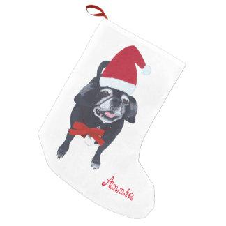 サンタのパグ犬の名前入りなクリスマスのストッキング スモールクリスマスストッキング