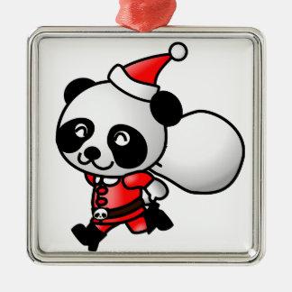 サンタのパンダのかわいいクリスマスのオーナメント メタルオーナメント