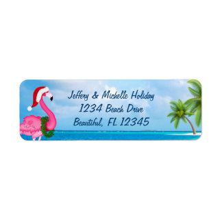 サンタのピンクのフラミンゴのクリスマスのビーチの住所 ラベル