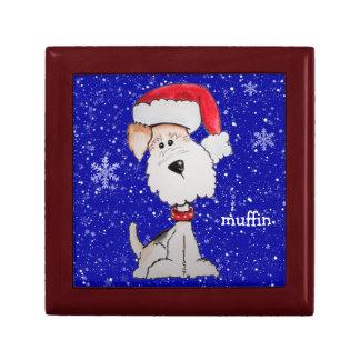 サンタのフォックステリア犬(カスタマイズ可能な) ギフトボックス