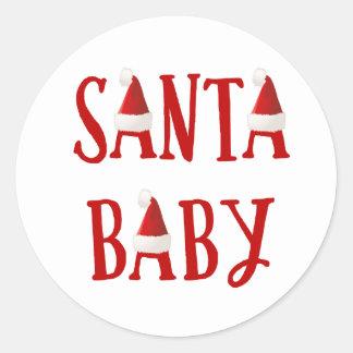 サンタのベビー|のベビーの初めてのクリスマスのステッカー ラウンドシール