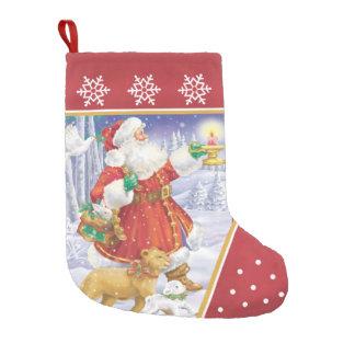 サンタのライオンおよび子ヒツジのストッキング スモールクリスマスストッキング