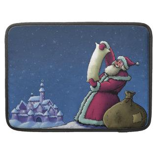 サンタのリストの幸せな休日のイラストレーション MacBook PROスリーブ