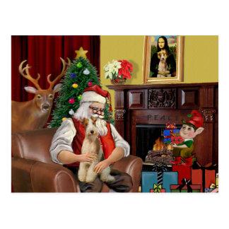 サンタのワイヤーフォックステリア犬(#3) ポストカード