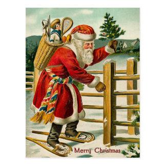 サンタのヴィンテージのクリスマスの郵便はがき ポストカード