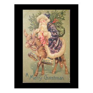 サンタの乗馬のろば ポストカード