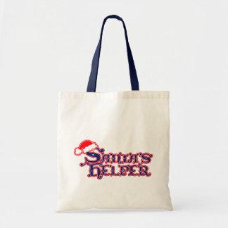 サンタの助手の赤く青く季節的な買い物袋 トートバッグ
