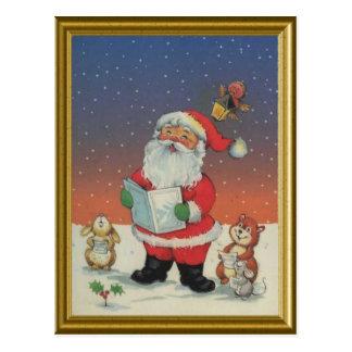サンタの動物が付いている歌うキャロル ポストカード