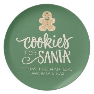 サンタの名札のための家族のクッキー プレート