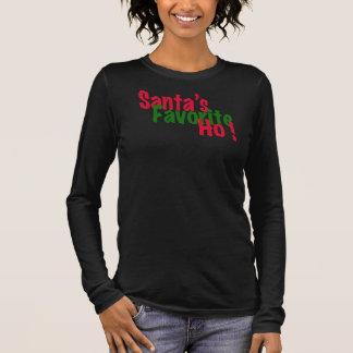 サンタの好みのhoおもしろいなクリスマスのTシャツのデザイン 長袖Tシャツ
