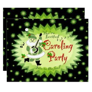 サンタの小妖精や小人のクリスマスのCarolingの音楽的なパーティーInvitat カード