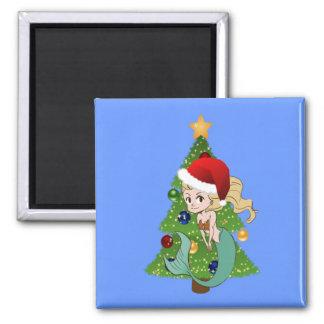 サンタの帽子およびクリスマスツリーの緑の人魚 マグネット