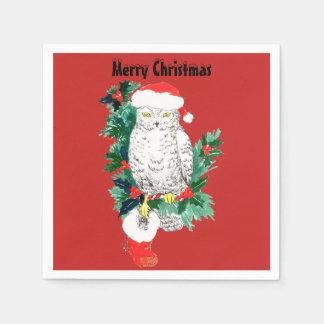 サンタの帽子およびストッキングを持つクリスマスのSnowyのフクロウ スタンダードカクテルナプキン