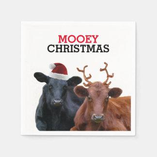 サンタの帽子および(雄ジカの)枝角を身に着けているクリスマス牛 スタンダードカクテルナプキン