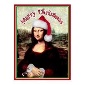 サンタの帽子とのクリスマスモナ・リザ ポストカード