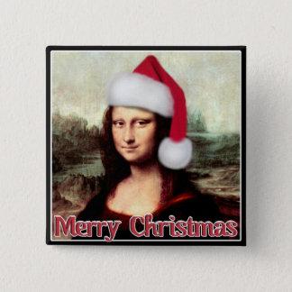 サンタの帽子とのクリスマスモナ・リザ 5.1CM 正方形バッジ