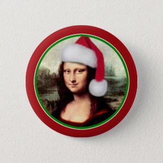 サンタの帽子とのクリスマスモナ・リザ 5.7CM 丸型バッジ