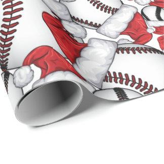 サンタの帽子との野球のクリスマス ラッピングペーパー