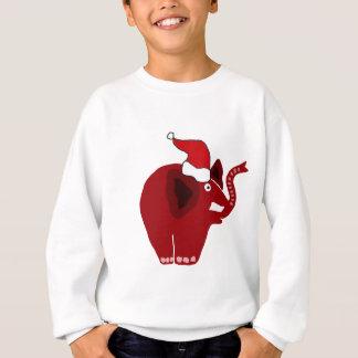 サンタの帽子のおもしろいで赤い象 スウェットシャツ