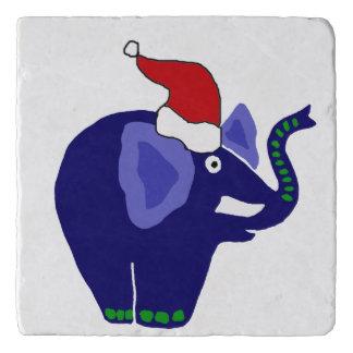 サンタの帽子のおもしろいで青い象 トリベット