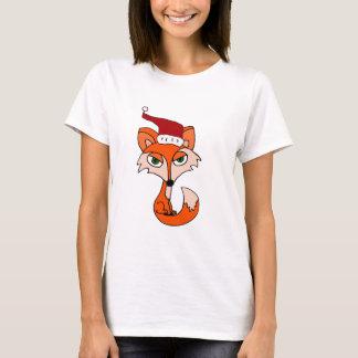 サンタの帽子のおもしろいなアカギツネ Tシャツ
