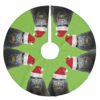 サンタの帽子のおもしろいなサル ブラッシュドポリエステルツリースカート