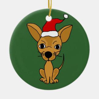サンタの帽子のおもしろいなチワワ犬 セラミックオーナメント