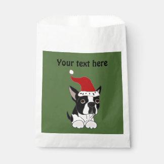 サンタの帽子のおもしろいなボストンテリア犬 フェイバーバッグ