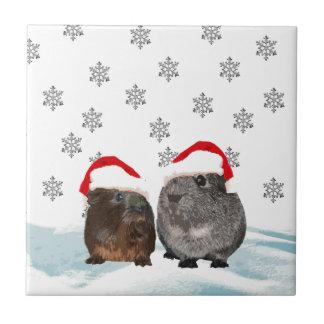 サンタの帽子のかわいいクリスマスのモルモット タイル