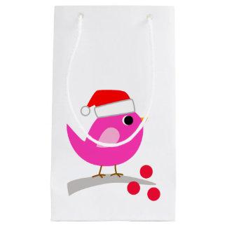 サンタの帽子のかわいい鳥 スモールペーパーバッグ