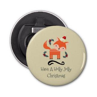 サンタの帽子のかわいくお洒落なクリスマスのオレンジキツネ 栓抜き