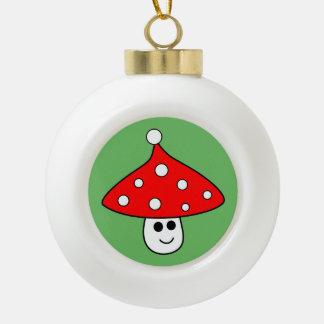 サンタの帽子のきのこの陶磁器の球のオーナメント セラミックボールオーナメント