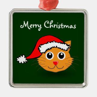 サンタの帽子のオーナメントの子猫 メタルオーナメント