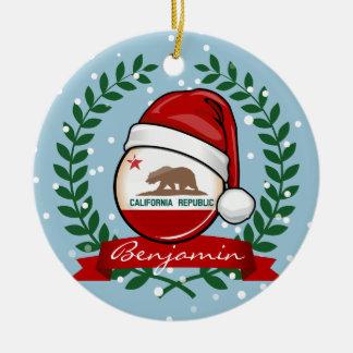 サンタの帽子のカリフォルニア旗 セラミックオーナメント