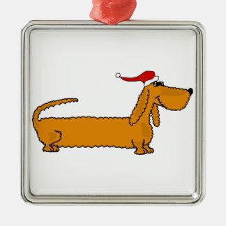 サンタの帽子のクリスマスのおもしろいなダックスフントの小犬 メタルオーナメント
