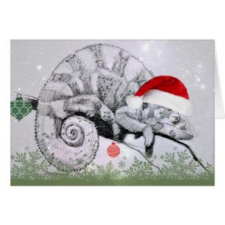 サンタの帽子のクリスマスのカメレオン カード